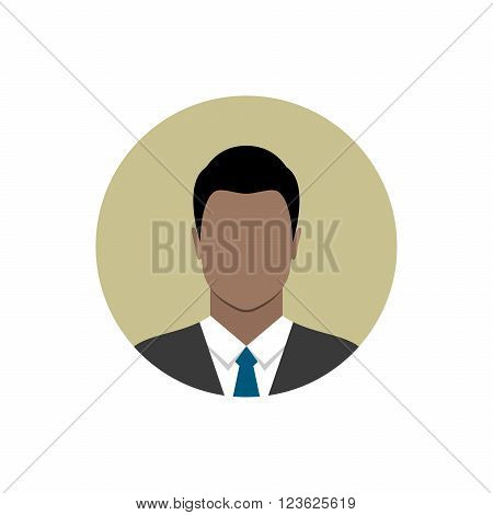 Businessman icon isolated on white background. African american ethnic man avatar. Man in business suit and tie. Circle avatar collection. Modern flat style design.