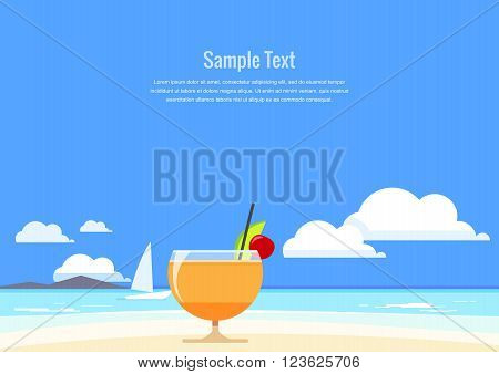 Cocktail with tropical fruit on the background of summer seascape. Flat Design. Vector illustration.