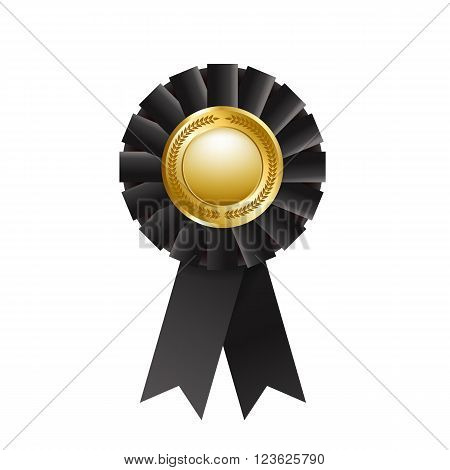 Black award rosette isolated on a white background. Award ribbon. Vector design element. EPS 10
