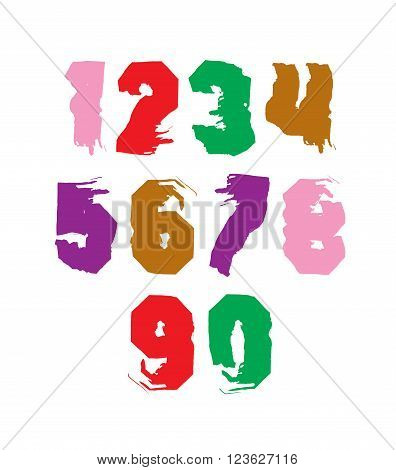 Handwritten contemporary vector digit set doddle hand-painted smear numerals.