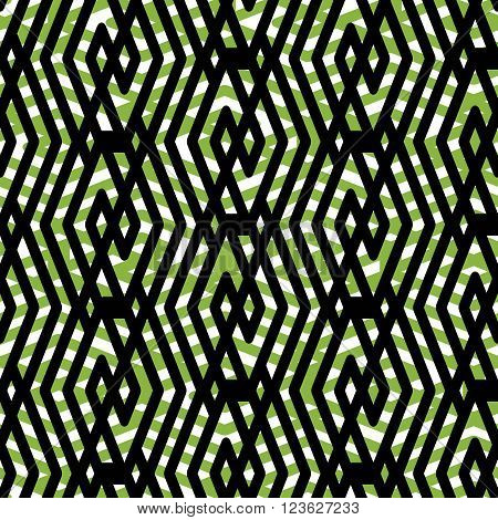 Bright rhythmic endless pattern with zigzag black lines vivid continuous creative textile geometric motif background with rhombs.