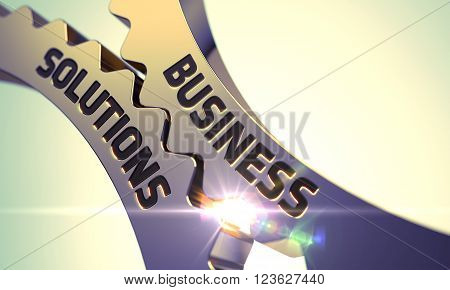 Business Solutions on the Golden Metallic Cogwheels. Golden Metallic Gears with Business Solutions Concept. Business Solutions on the Mechanism of Golden Metallic Gears. 3D.