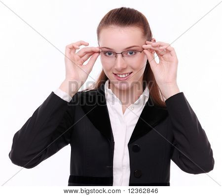 Young business woman puts off specticales. Isolated on a white background.