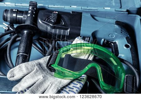 Drill, Gloves And Goggles