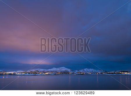 Sundown over Lofoten Islands Northen Norway, March 2016