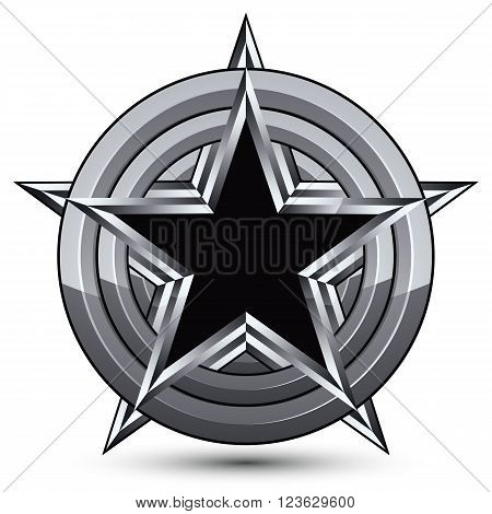 Sophisticated design geometric symbol stylized pentagonal black star placed on a round silver surface best for use in web and graphic design. Polished 3d vector icon isolated on white background. Clear eps8.