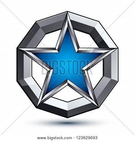 Silvery rounded geometric symbol stylized pentagonal blue star placed in a silver ring best for use in web and graphic design. Polished vector icon isolated on white background.