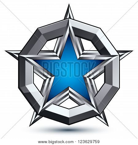 Silvery rounded geometric symbol stylized pentagonal blue star placed in a silver ring best for use in web and graphic design. Polished vector icon isolated on white background eps8.