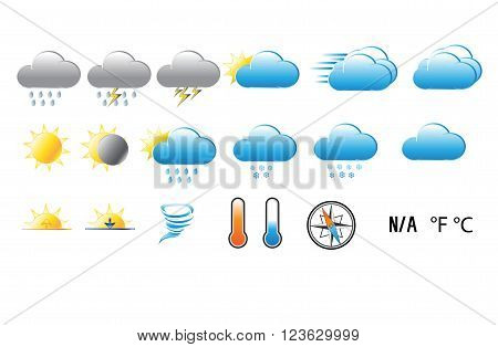 Gradient blue, gray, and yellow weather icons with compass and thermometer on white background