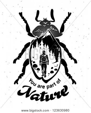 Illustration for hipster wear on the topic traveling. You are part of nature