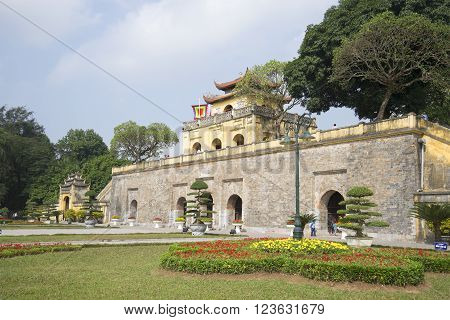 HANOI, VIETNAM - JANUARY 10, 2016: View of the front Bastion with the main gate. The Citadel, historic landmark of the city Hanoi