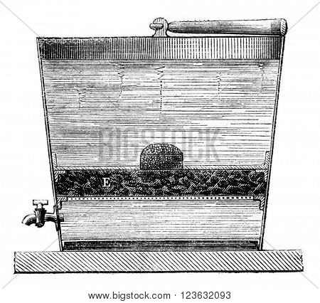 Galvanized iron bucket, vintage engraved illustration. Magasin Pittoresque 1873.