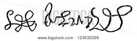 Facsimile of the signature of Henry VIII of England, crown June 24, 1509, died in 1547, vintage engraved illustration. Magasin Pittoresque 1870.