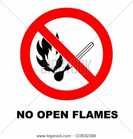 Vector fire emergency icons. No open flames. Flammable.