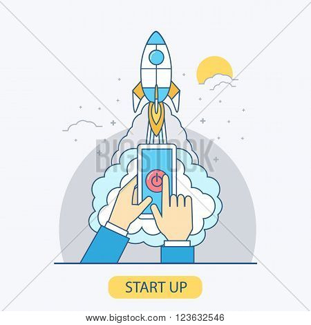 Business start up business concept illustration in line style. Vector concept for business project start up. Launching new project.