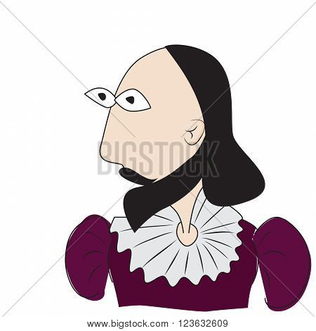 vector illustration of William Shakespeare british writer