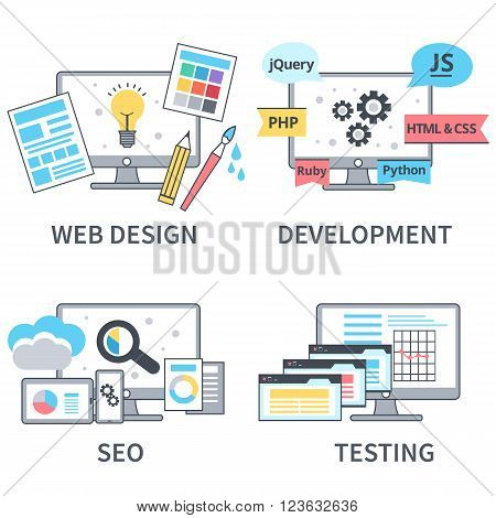Vector flat line set of concept web development elements. Stages of web development. Icons for web design application development web programming seo testing.