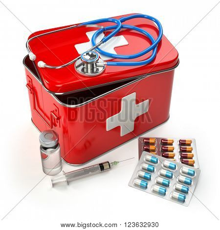 First aid kit with stethoscope, pills and syringe on the table. 3d