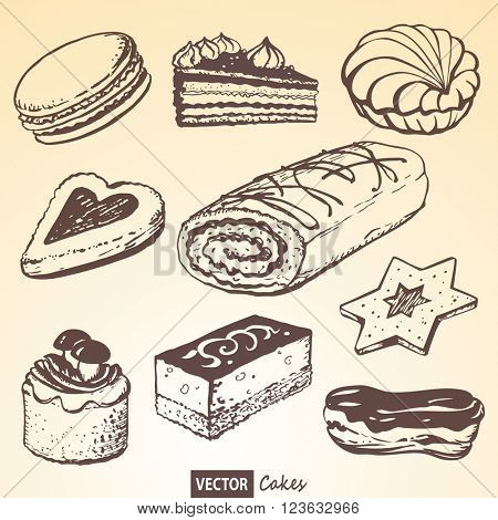 The set of vector cakes based on a hand drawn illustration