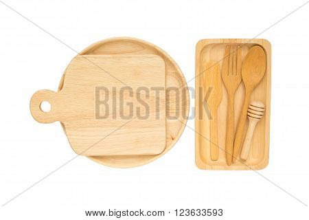 Top view of isolated wooden fork, spoon, butter knife, honey dipper, plate, tray, cutlery on wooden tray