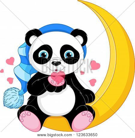 Illustration of a panda in a nightcap on the moon
