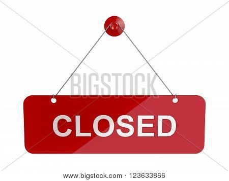 Red hanging door plate with Closed sign, isolated on white
