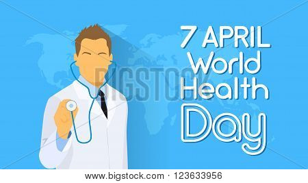 Medical Doctor Hold Stethoscope Over World Map Health Day Flat Vector Illustration