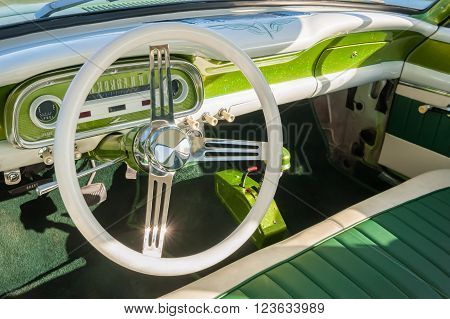 interior detail of a retro 1950s automobile