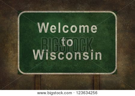 Welcome to Wisconsin road sign illustration with distressed ominous background