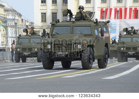 ST. PETERSBURG, RUSSIA - MAY 05, 2015: Multi-purpose armored vehicle