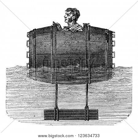 White float barrel pinion captain, vintage engraved illustration. Magasin Pittoresque 1870.