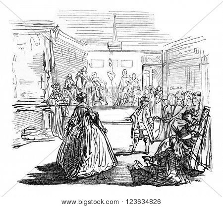 A Prom at Philippe Le Bas, vintage engraved illustration. Magasin Pittoresque 1870.