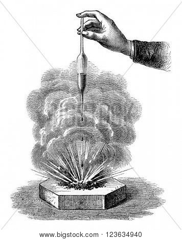 Action of sulfuric acid on barite, vintage engraved illustration. Magasin Pittoresque 1870.