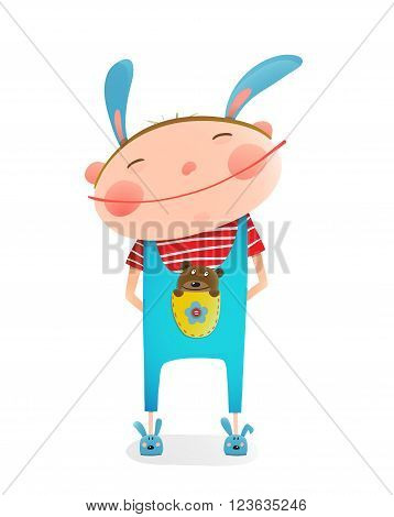 Small kid with toy. Happy child smiling wearing bunny costume. vector illustration