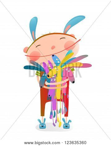 Little girl or boy hugging bunnies. Happy child in bunny costume, vector illustration