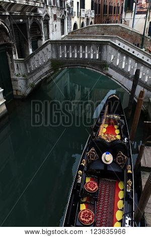 Traditional Gondolas at Venice Rialto grand canal