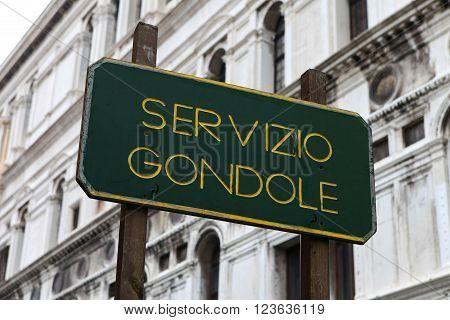 Gondola Service - Servizio Gondole sign in Venice, Italy.