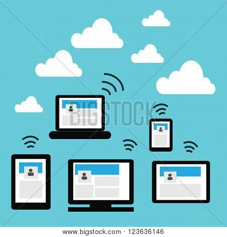 Cloud computing include device such as tablet smartphone notebook Personal Computer to the cloud on blue sky background