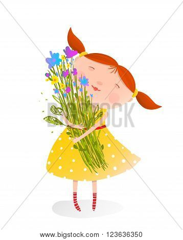 Happy child with a bunch of flowers. Organic nature plant, jolly child face, vector illustration