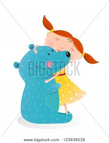 Little girl embracing bear. Child with toy teddy, cheerful and smile kid. Vector illustration