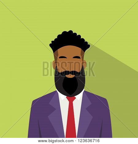 Business Man Profile Icon African American Ethnic Male Avatar Hipster Style Fashion Cartoon Guy Beard Portrait Casual Businessman Person Face Flat Design Vector Illustration