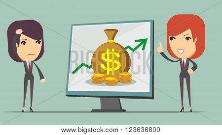 Business woman teaches a man who had lost the money, how to keep them, vector illustration