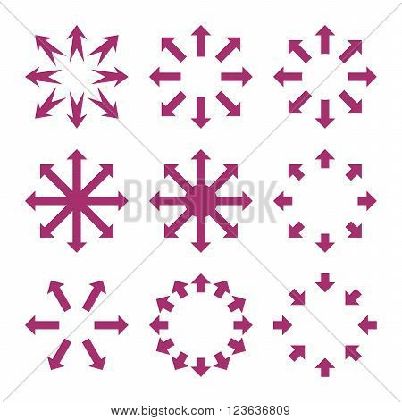 Maximize Arrows vector icon set. Collection style is purple flat symbols on a white background.