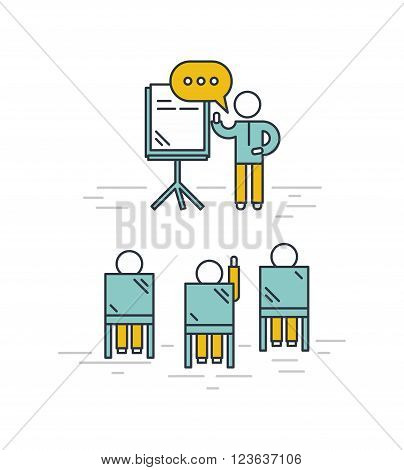 Training classroom vector illustration. Man giving a presentation in classroom. Training seminar concept in outline style.