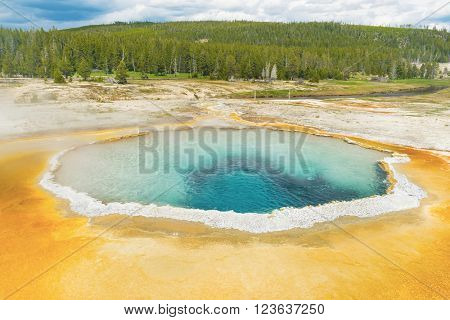 Beautiful Crested Pool in Upper Geyser Basin (Old Faithful Area). Yellowstone National Park, Wyoming. USA