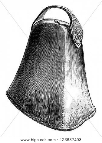 Ancient bell preserved in Saint-Pol de Leon, Finistere, vintage engraved illustration. Magasin Pittoresque 1869.