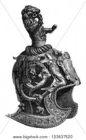 Facing the sixteenth century Venetian helmet, vintage engraved illustration. Magasin Pittoresque 1869.