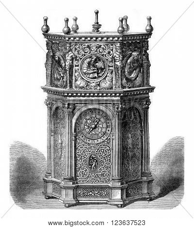 Clock of the sixteenth century, vintage engraved illustration. Magasin Pittoresque 1869.