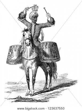 Villeroy timpanist of the regiment in 1724, vintage engraved illustration. Magasin Pittoresque 1869.