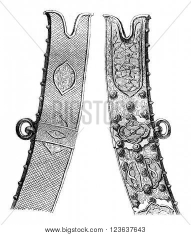 Scabbard scimitar Zolkiewski great general, preserves the treasury of Czestochowa, vintage engraved illustration. Magasin Pittoresque 1869.